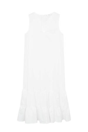 trapeze jurk met plooien wit