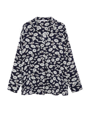 blouse met all over print marine