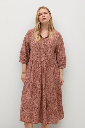 gebloemde blousejurk donkerrood/wit