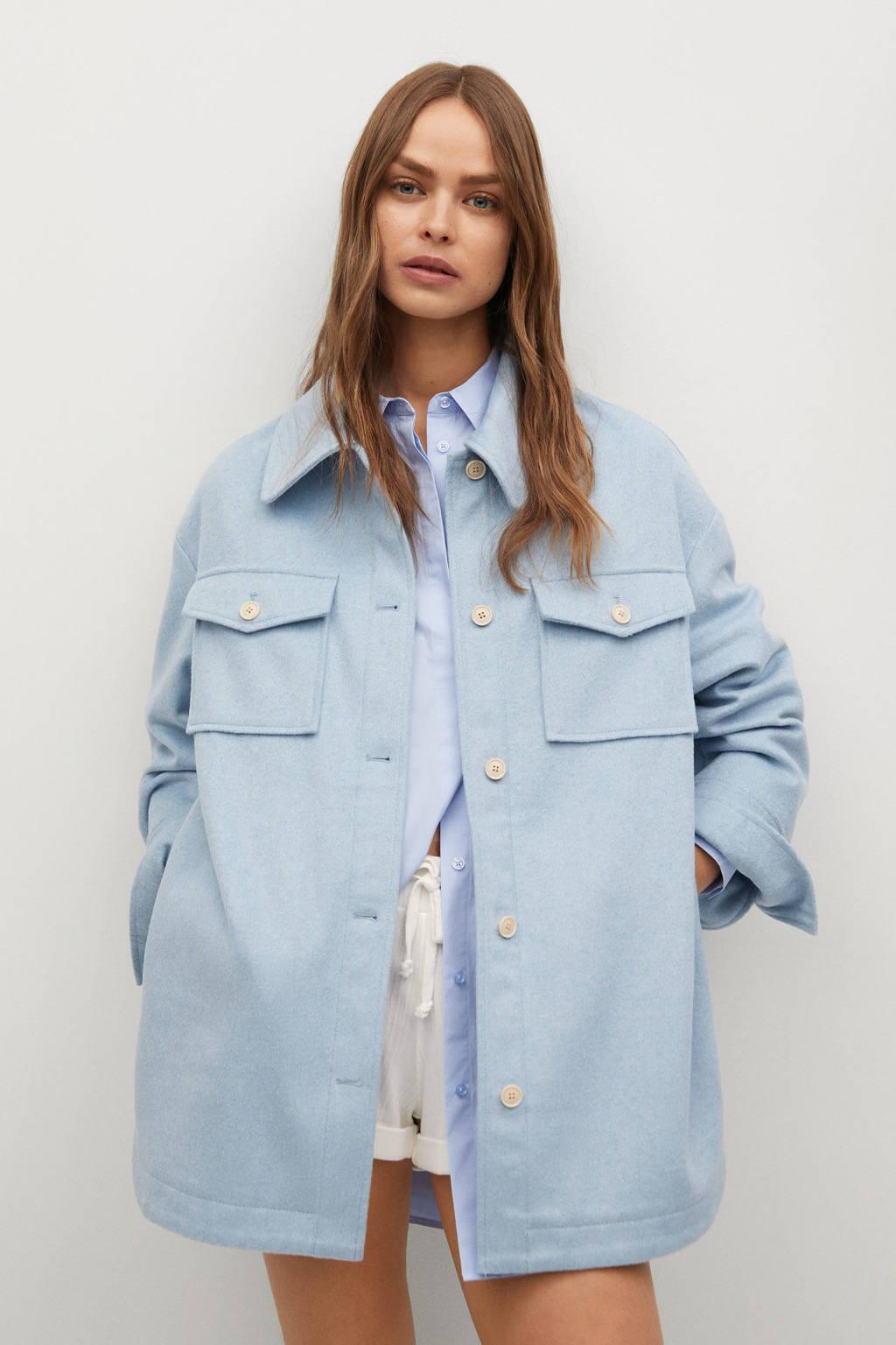 Mango shacket met wol lichtblauw, Lichtblauw