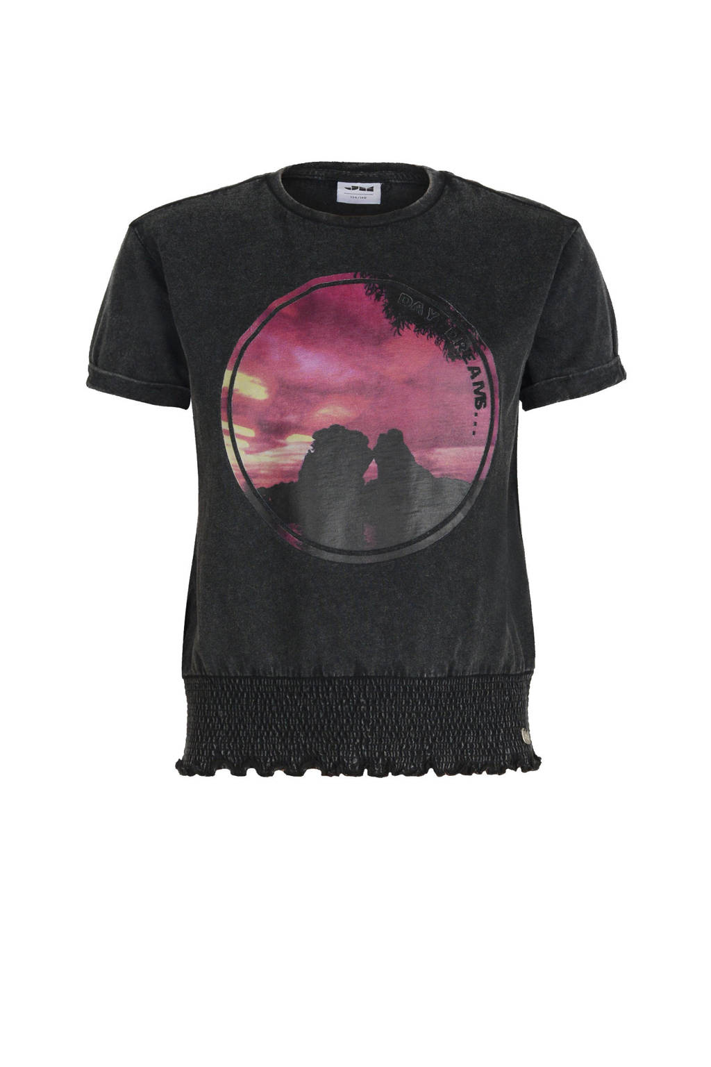 Jill & Mitch by Shoeby T-shirt Kiki met printopdruk antraciet/roze, Antraciet/roze