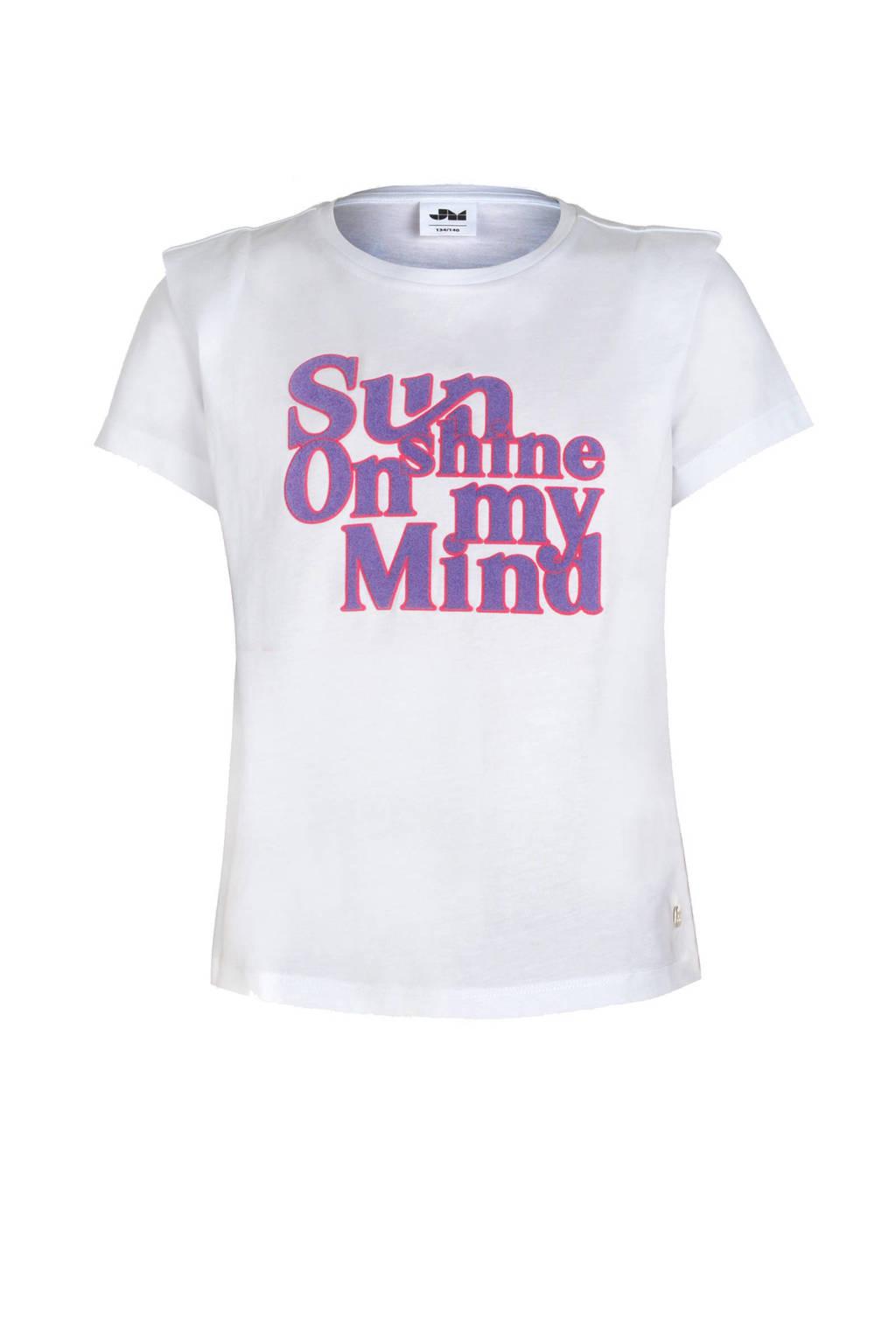 Jill & Mitch by Shoeby T-shirt Kreta met tekst wit/paars/koraalrood, Wit/paars/koraalrood