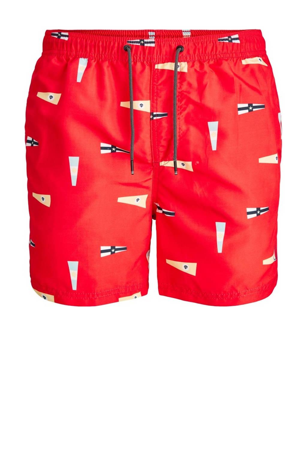 JACK & JONES JEANS INTELLIGENCE zwemshort Bali met all over print rood, Rood