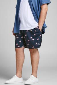 JACK & JONES PLUS SIZE zwemshort Bali met flamingo print donkerblauw/roze, Donkerblauw/roze