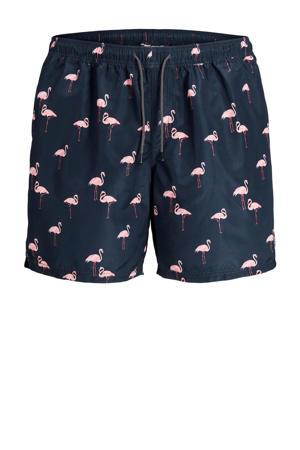 zwemshort Bali met flamingo print donkerblauw/roze