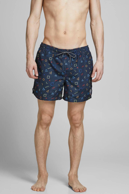 JACK & JONES JEANS INTELLIGENCE zwemshort Bali met all over print donkerblauw, Donkerblauw
