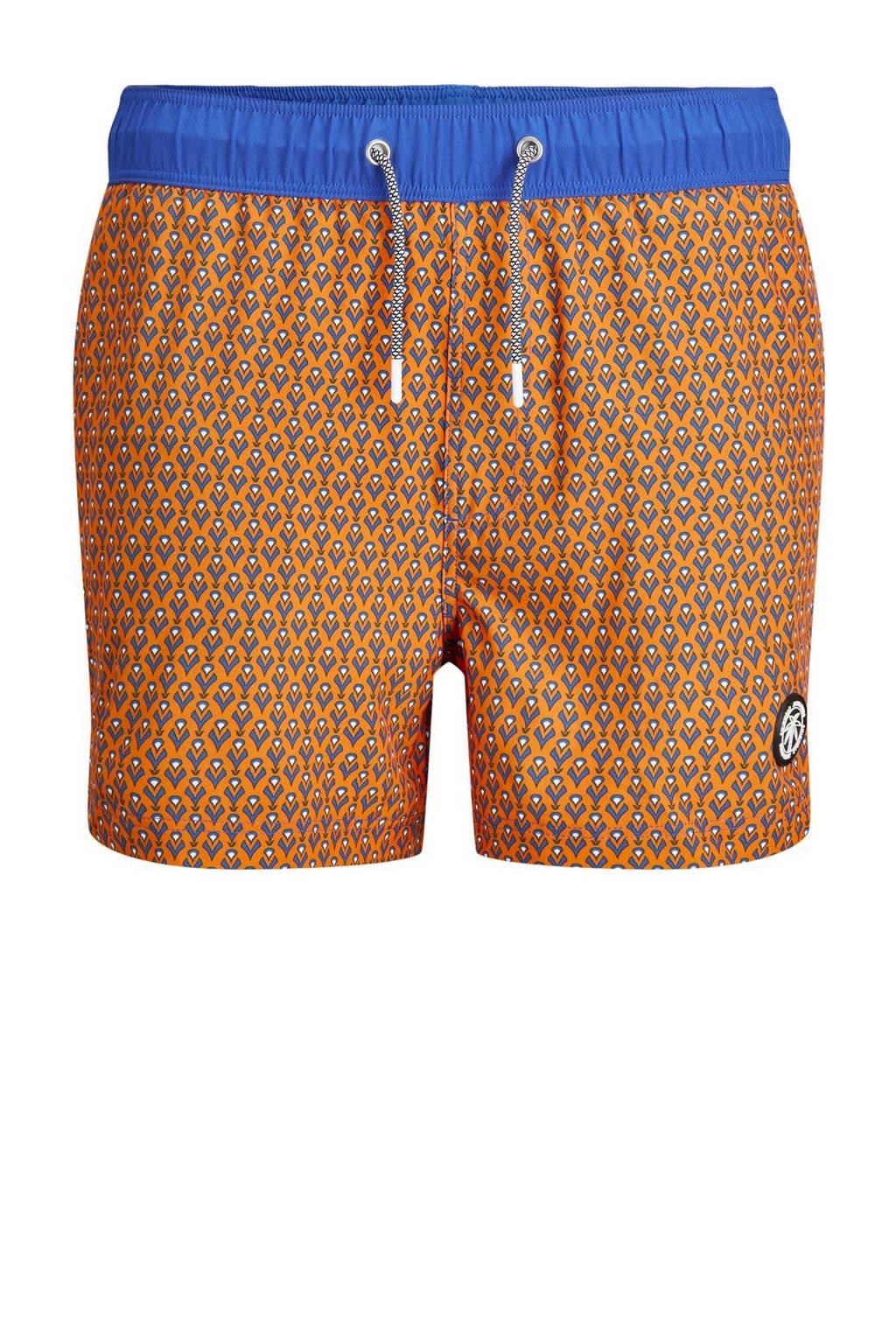 JACK & JONES JEANS INTELLIGENCE zwemshort Maui met all over print oranje/blauw, Oranje/blauw