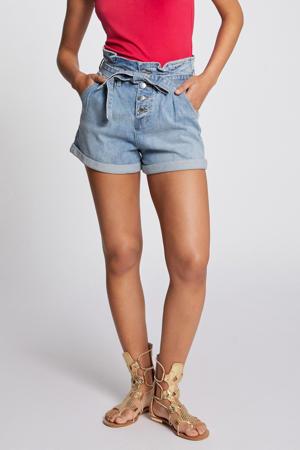 high waist straight fit jeans short lichtblauw