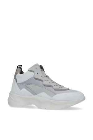 halfhoge leren chunky sneakers grijs