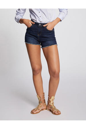 high waist slim fit jeans short donkerbauw
