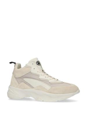 halfhoge leren chunky sneakers beige