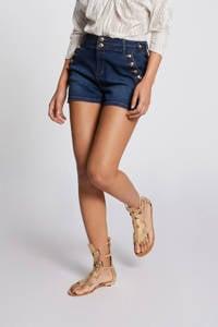 Morgan high waist jeans short donkerblauw, Donkerblauw