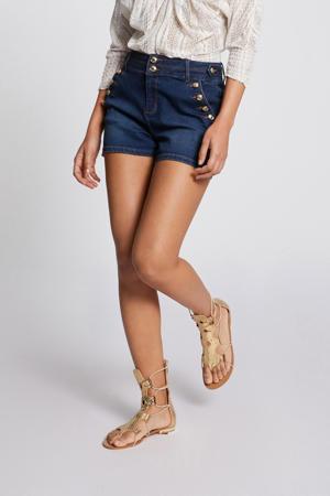 high waist jeans short donkerblauw