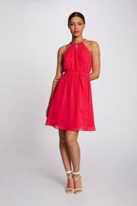 Morgan halter jurk met ceintuur fuchsia, Framboise