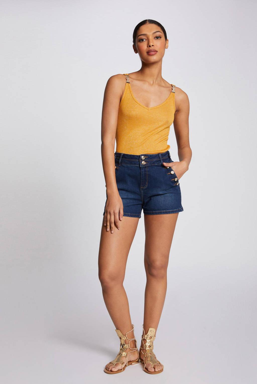 Morgan top met glitters geel, Geel