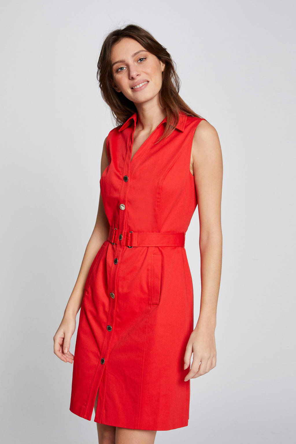 Morgan blousejurk met ceintuur rood, Rood