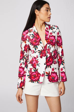 gebloemde geweven blazer ecru/fuchsia/roze