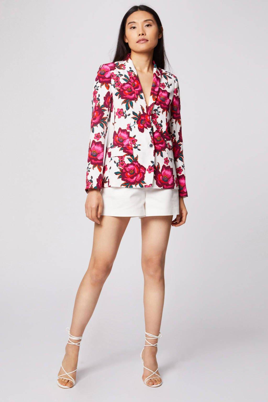 Morgan gebloemde geweven blazer ecru/fuchsia/roze