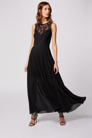 maxi A-lijn jurk met kant zwart