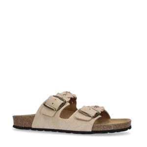 gevlochten suède slippers beige