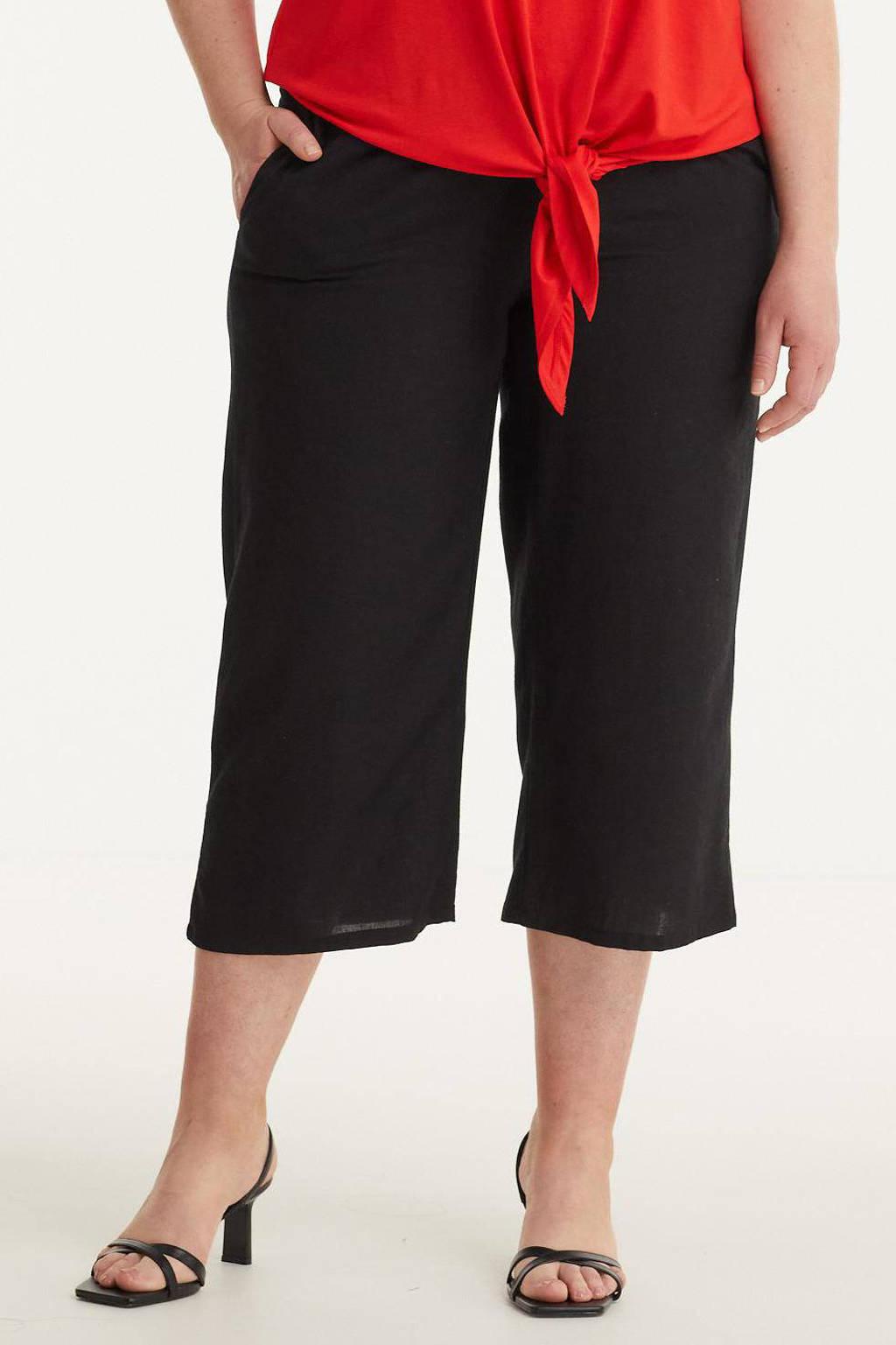 GREAT LOOKS wide leg culotte zwart, Zwart