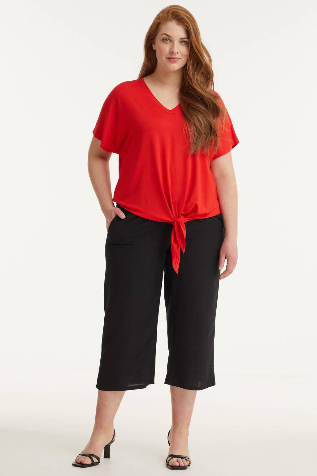 GREAT LOOKS capri broek in linnenmix zwart, Zwart