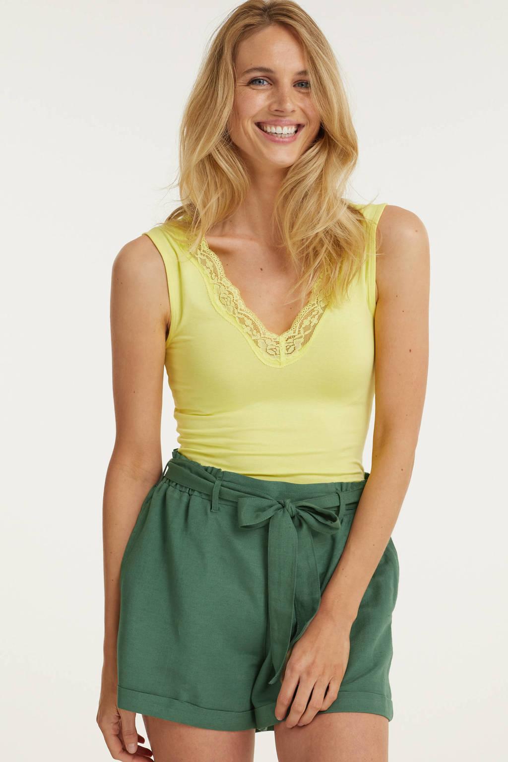 Imagine high waist short in linnenmix groen, Groen