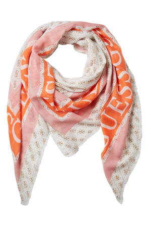 sjaal Monique wit/oranje