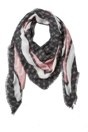 sjaal Monique zwart/roze