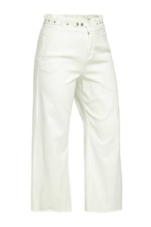 high waist wide leg jeans met studs wit