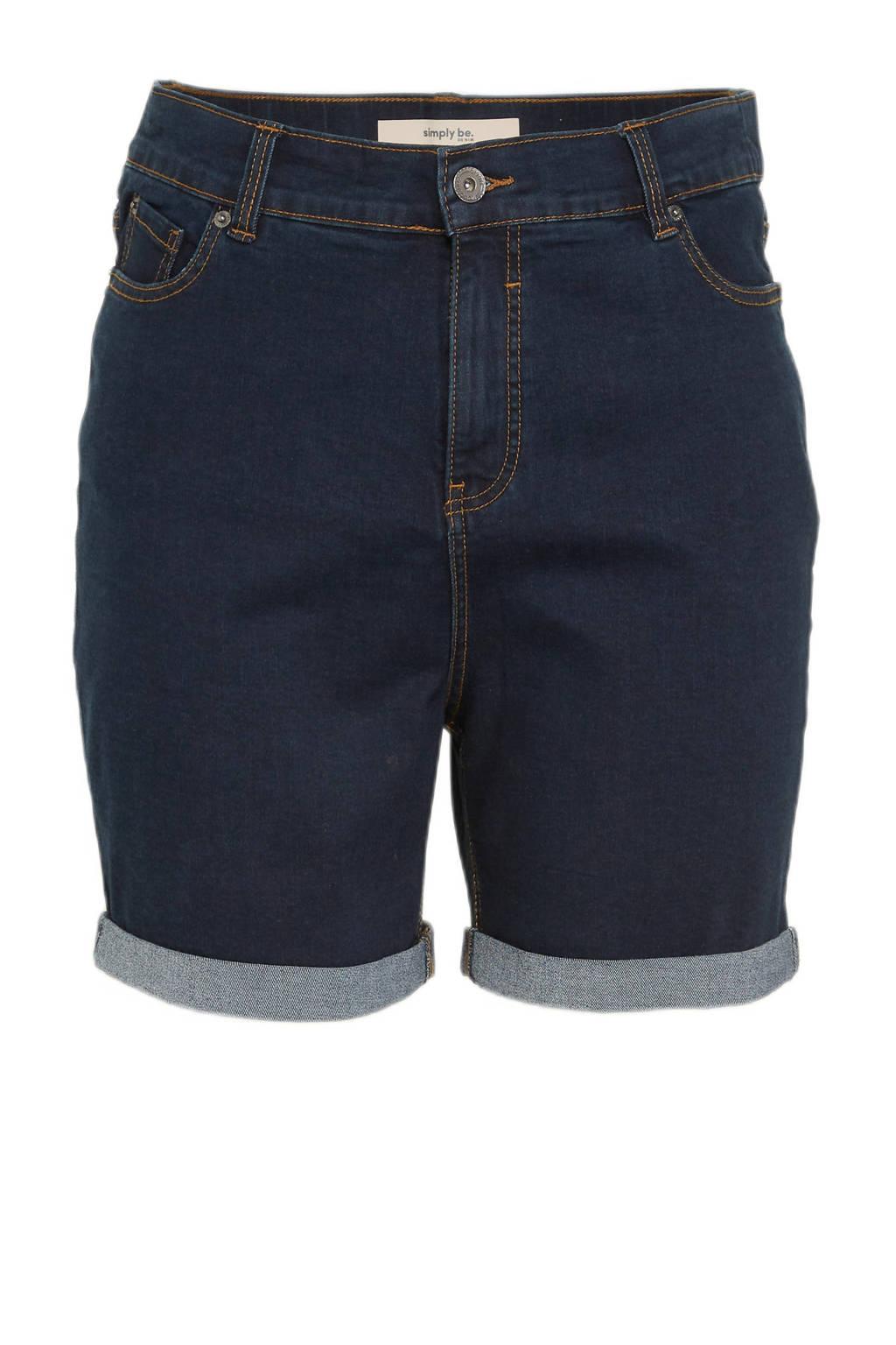 Simply Be high waist jeans short 24/7 dark denim, Dark denim