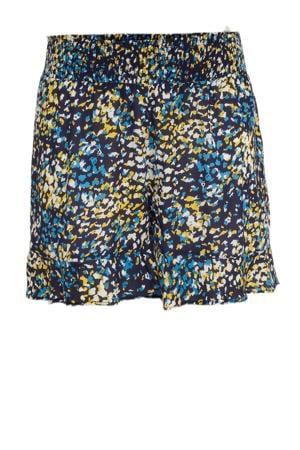short met all over print donkerblauw/blauw/geel