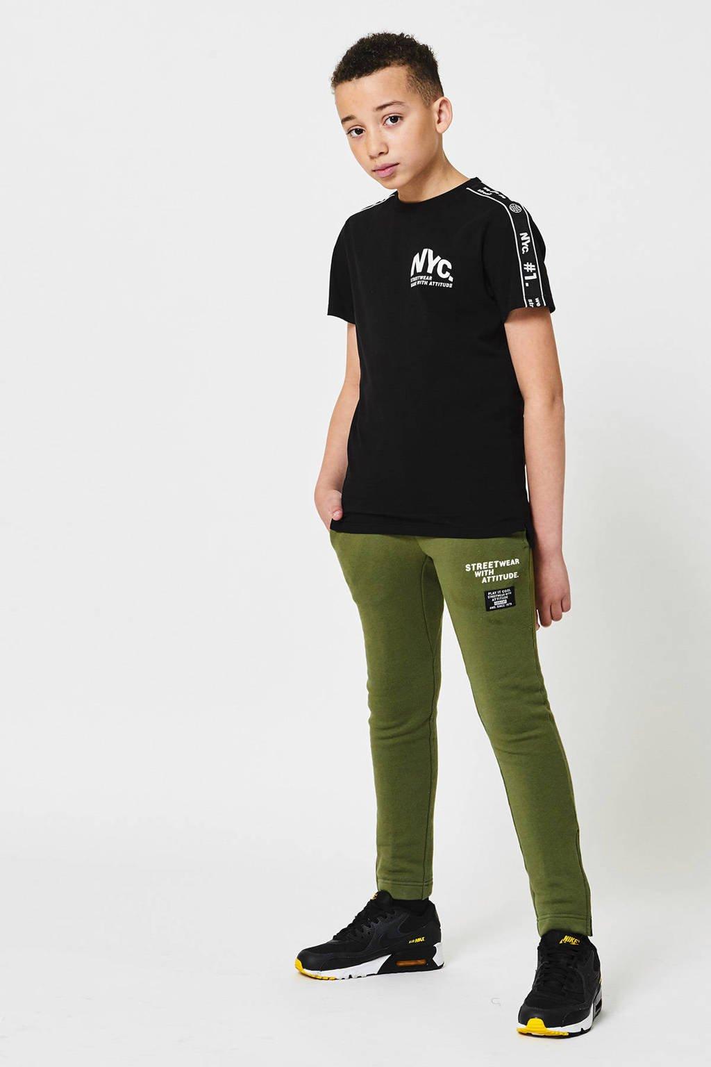 CoolCat Junior joggingbroek Caz met tekst army groen, Army groen