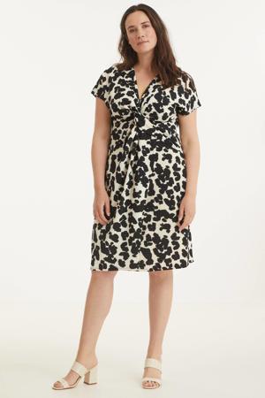 jurk met dierenprint wit/zwart