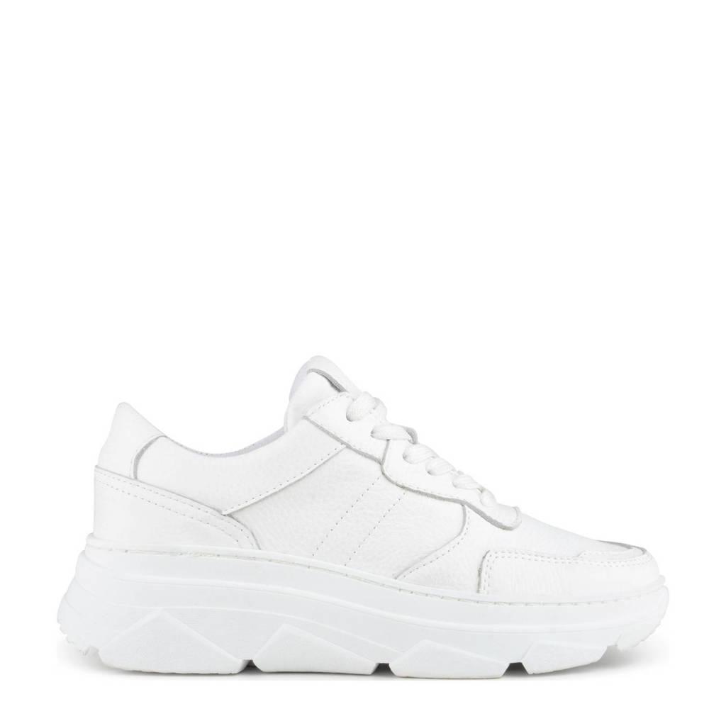 PS Poelman Jola  chunky leren sneakers wit, Wit
