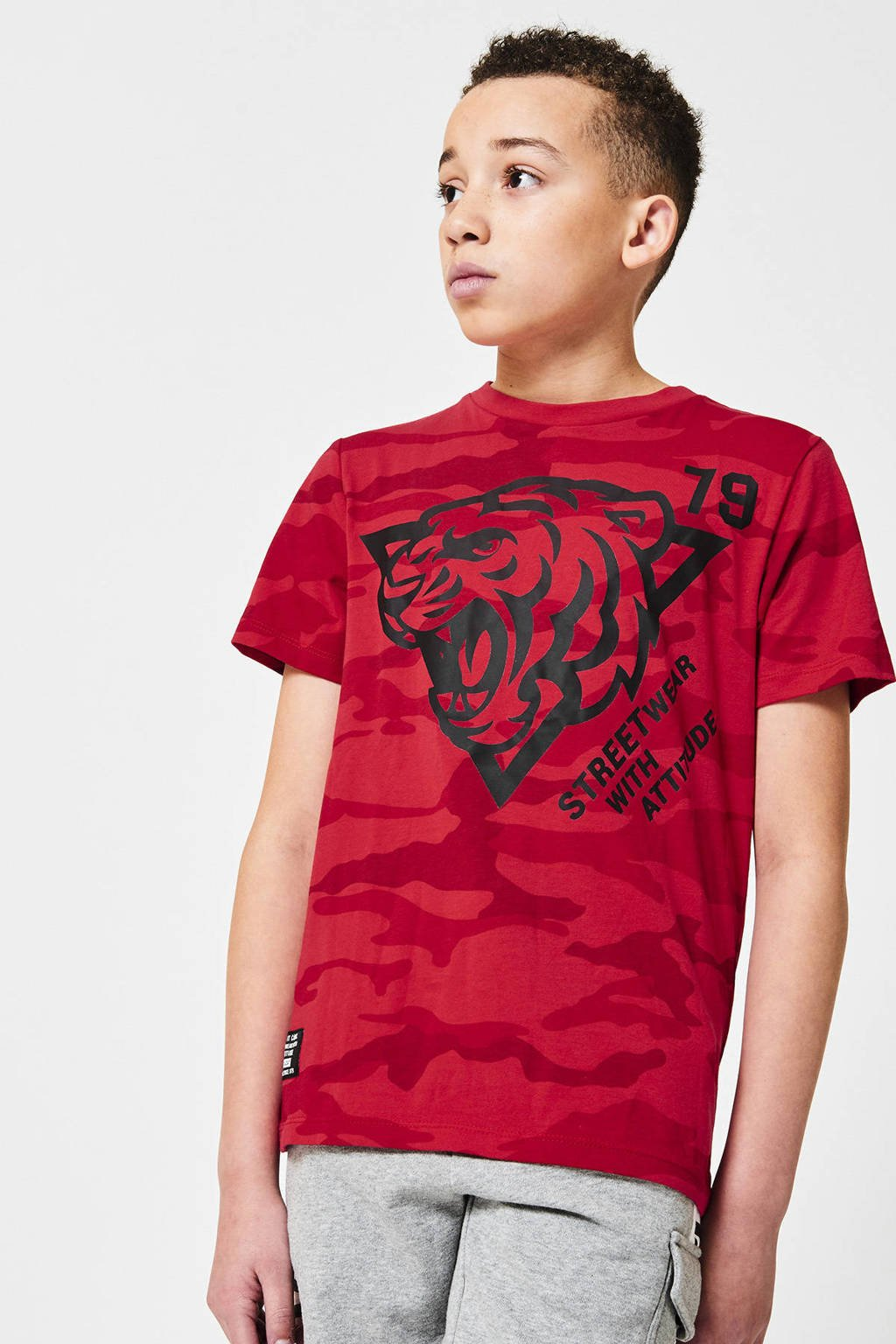 CoolCat Junior T-shirt Elson  met all over print rood, Rood