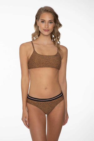 bikinitop Eliza met all over print lichtbruin/zwart