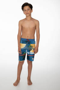 Protest zwemshort Robby met all over print donkerblauw, Airforces