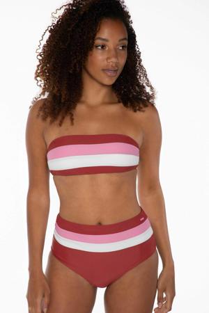 gestreepte strapless bandeau bikini rood/roze/wit