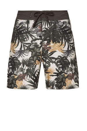 boardshort Marcel met all over print wit/donkergroen