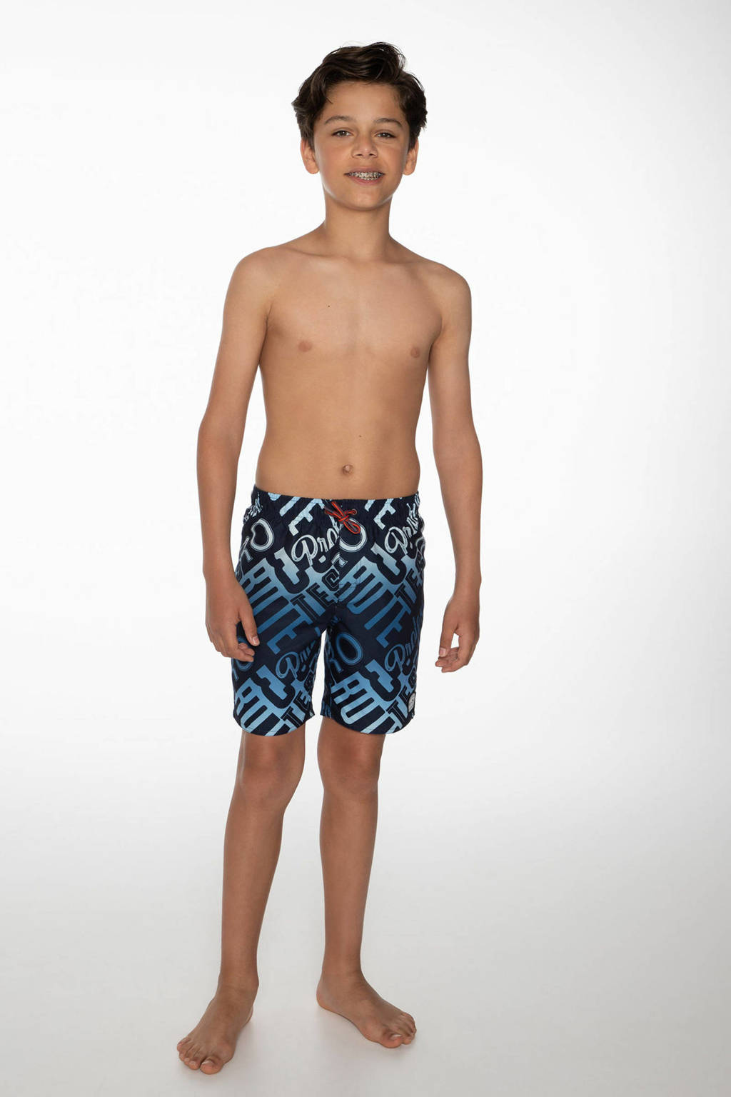 Protest zwemshort Taz met all over print donkerblauw/blauw, Oxford blue
