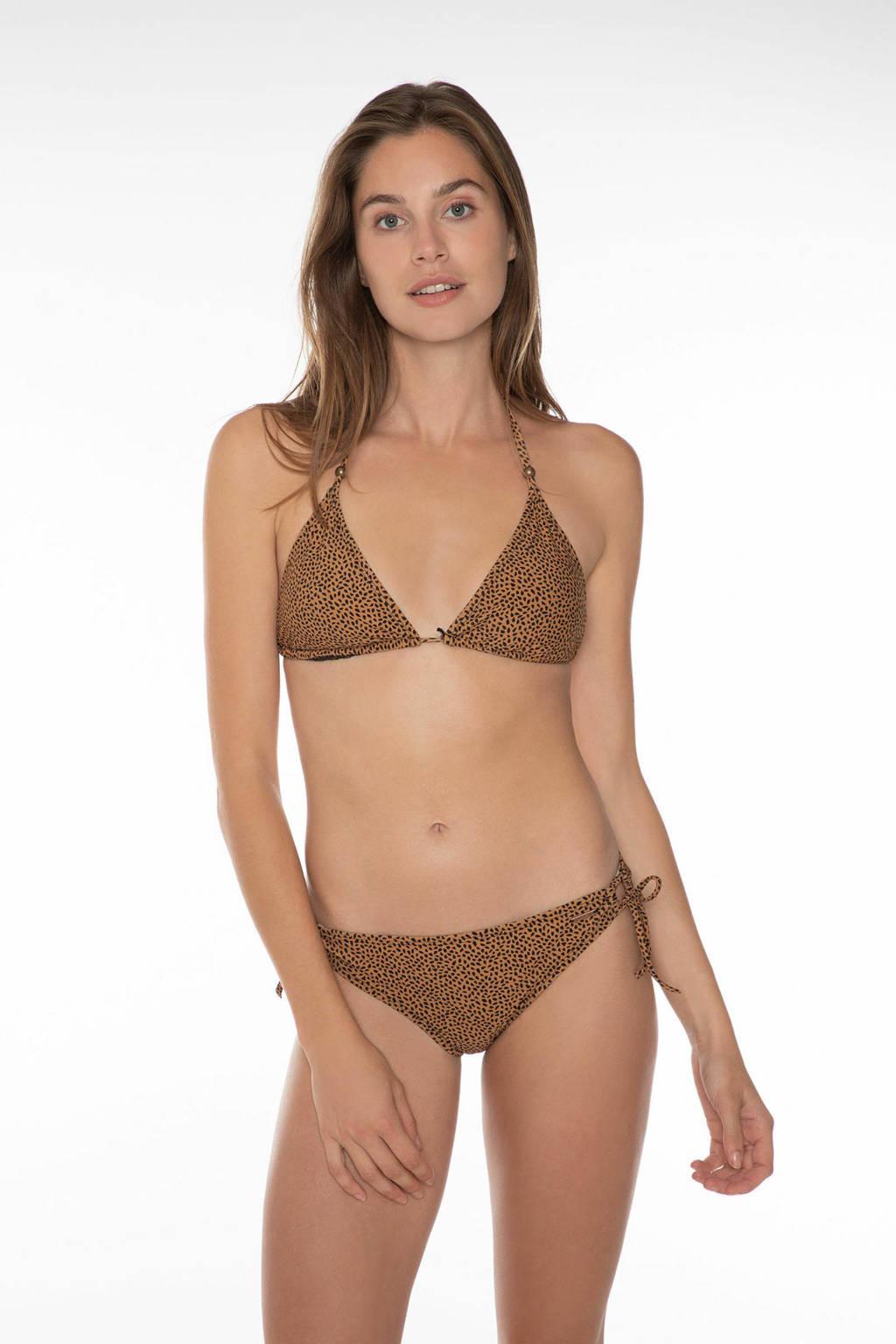 Protest triangel bikini Eva met all over print lichtbruin/zwart, True black