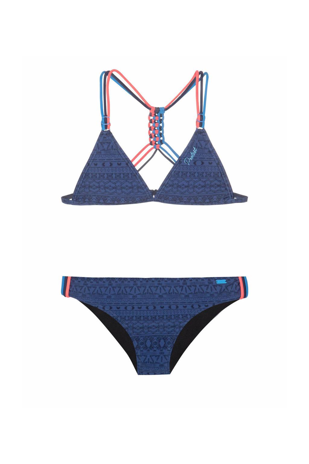 Protest triangel bikini Fimke met all over print donkeblauw, Ground Blue