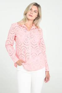 Cassis blouse met open detail lichtroze, Lichtroze