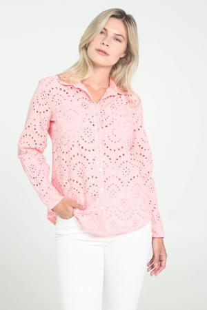 blouse met open detail lichtroze