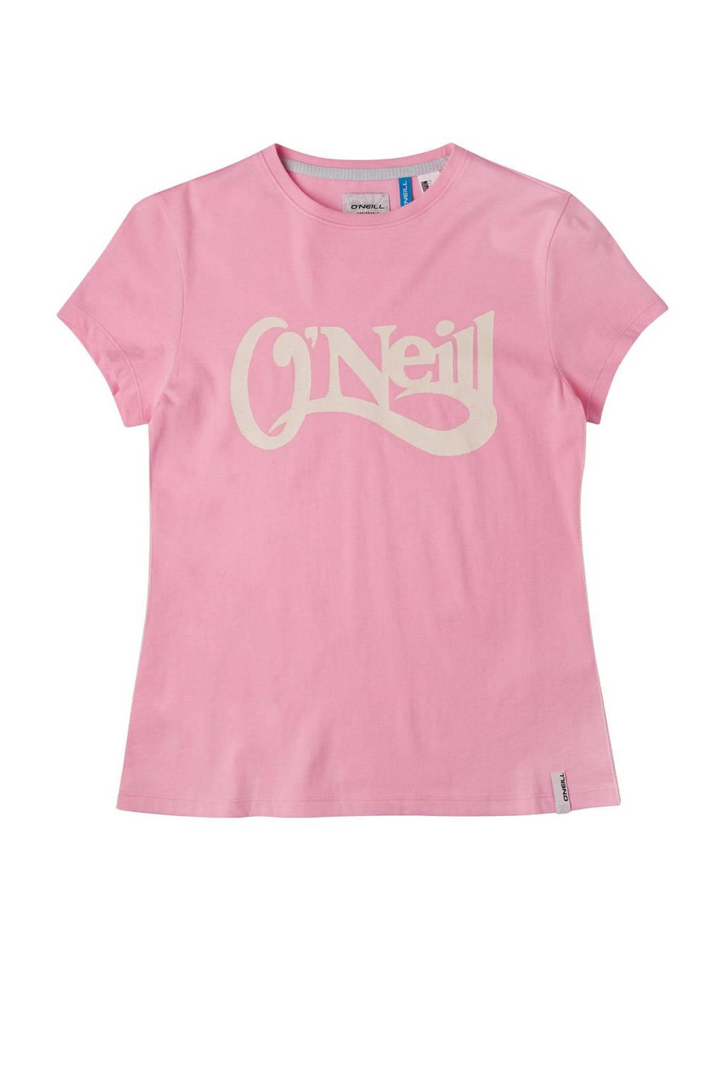 O'Neill Blue T-shirt Waves met logo roze, Roze