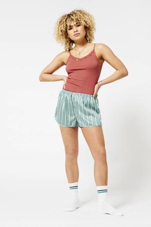 gestreepte pyjamashort turquoise
