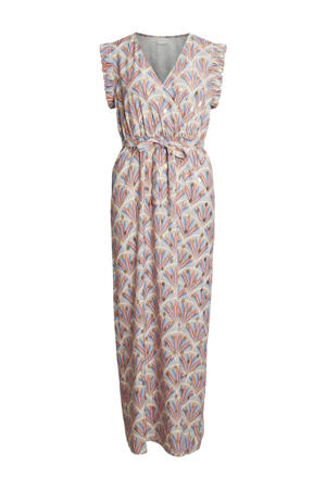jurk VIZINO met all over print en ruches beige/blauw/rood