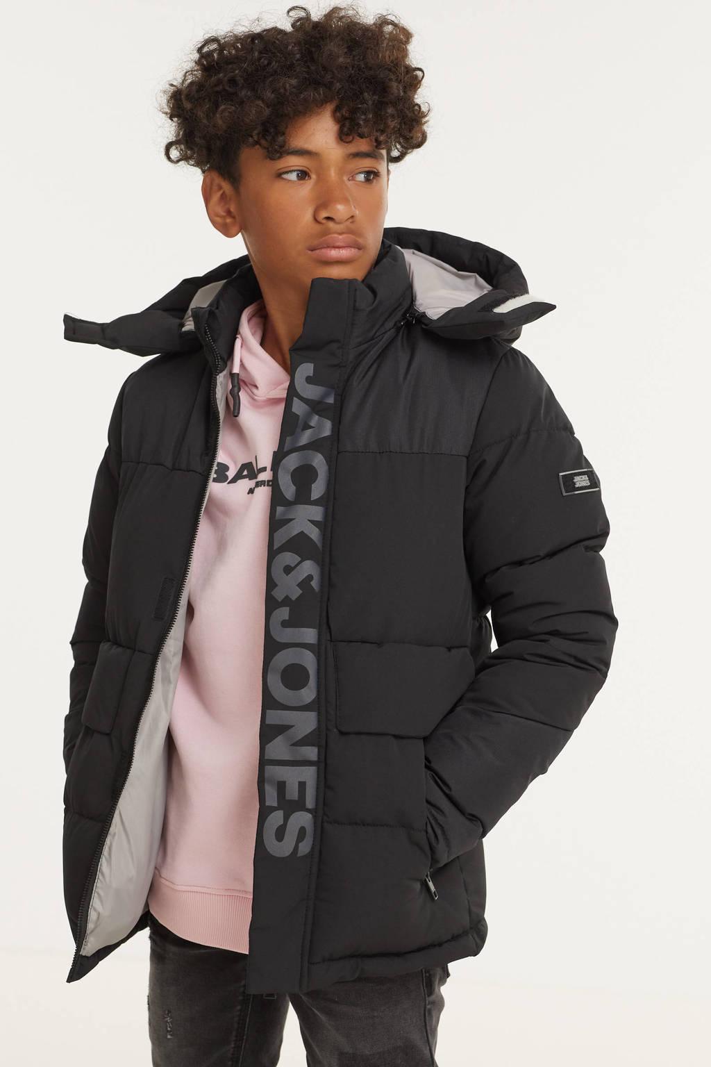 JACK & JONES JUNIOR gewatteerde winterjas JCOPACE met logo zwart, Zwart