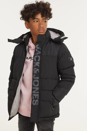 gewatteerde winterjas JCOPACE met logo zwart